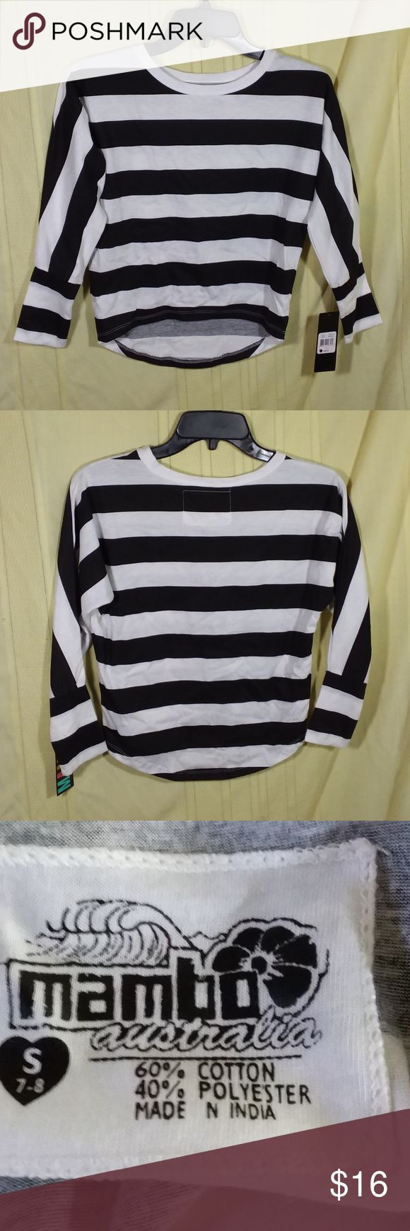 """Mambo Womens top Size S 7/8 black white stripe Brand:  Mambo Australian top, black and white striped, 3/4 sleeve length, hi-lo, batwing  Womens size S 7/8  Measurements were taken with garment laying flat, with chest measurements doubled, and are approximate:         Length:  Front:  18"""" Back:  20 1/2"""" Chest:  36""""  Material:  60% Cotton, 40% Polyester Mambo Tops Blouses"""