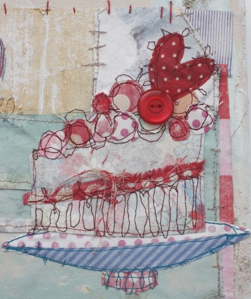 Fabric and sewing collage by Pricilla Jones