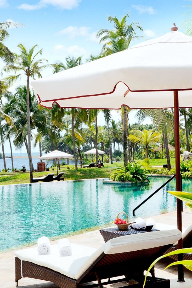 The pool is surrounded by palm-studded gardens.