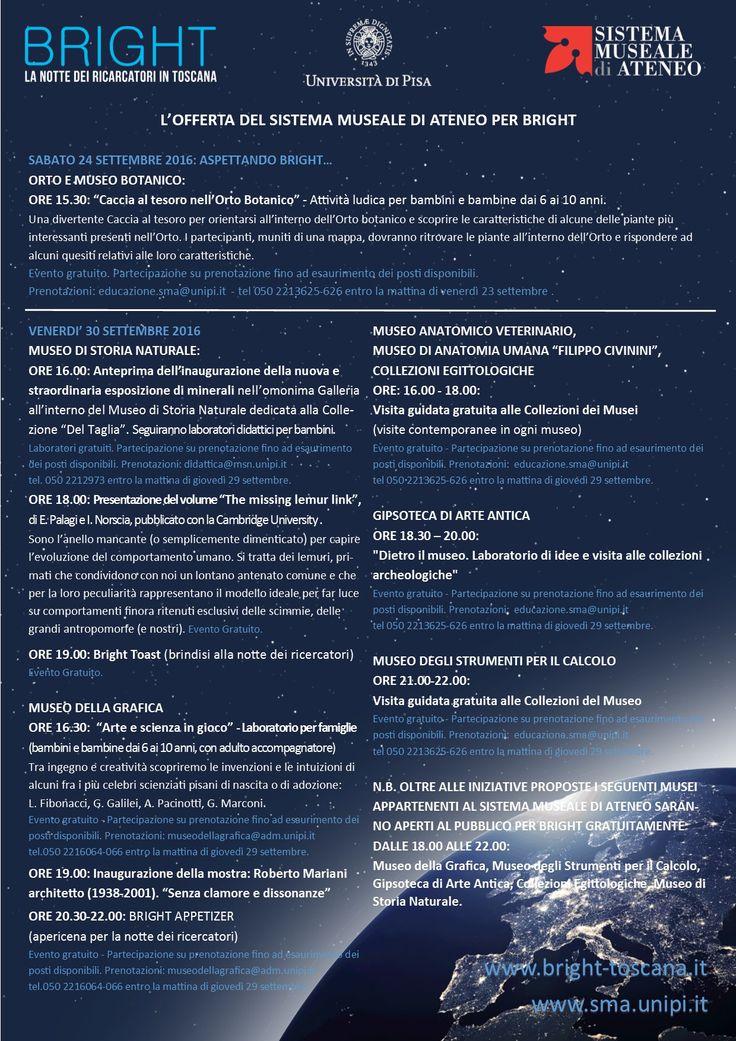 BRIGHT - LA NOTTE DEI RICERCATORI AL MUSEO DEGLI STRUMENTI PER IL CALCOLO ORE 21.00-22.00: Visita guidata gratuita alle Collezioni del Museo Evento gratuito - Partecipazione su prenotazione Prenotazioni: educazione.sma@unipi.it tel 050 2213625-626