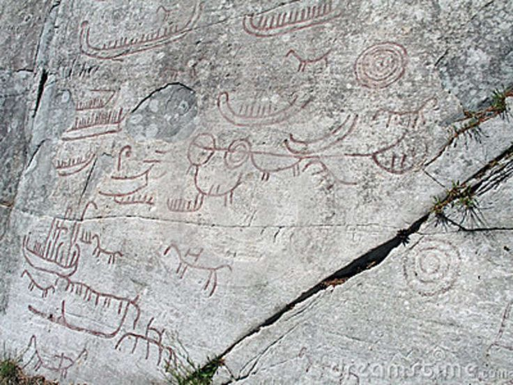 rock carvings of Norway | Close up of rock carvings from Skien, Norway. From the Nordic Bronze ...