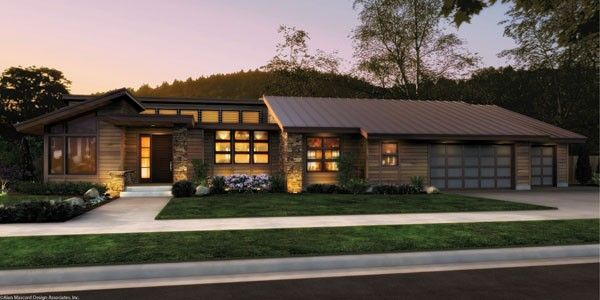 This single story, contemporary house plan is perfect for enthusiasts of Frank Lloyd Wright's prairie-style designs. Learn more about the Mercer home plan, stunningly original with natural light throughout.