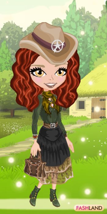 Time for some fresh air with your fresh Look...    #fashland #fashion #passionforfashion #trees # country #house #flowers #hat  #green #honeyeyes #redhair #beauty #beautiful #dressup #gamegos #onlinegames #gaming