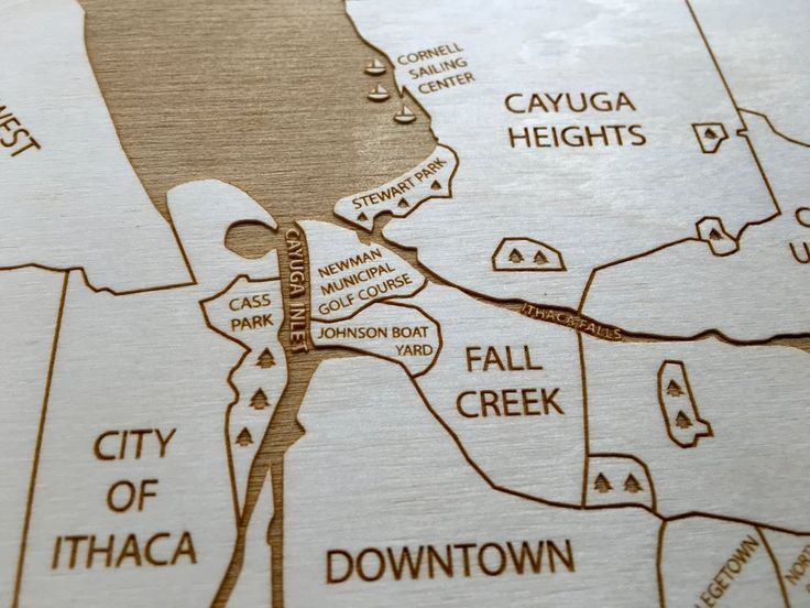 Ithaca, NY Engraved Wood Map by Etched Atlas