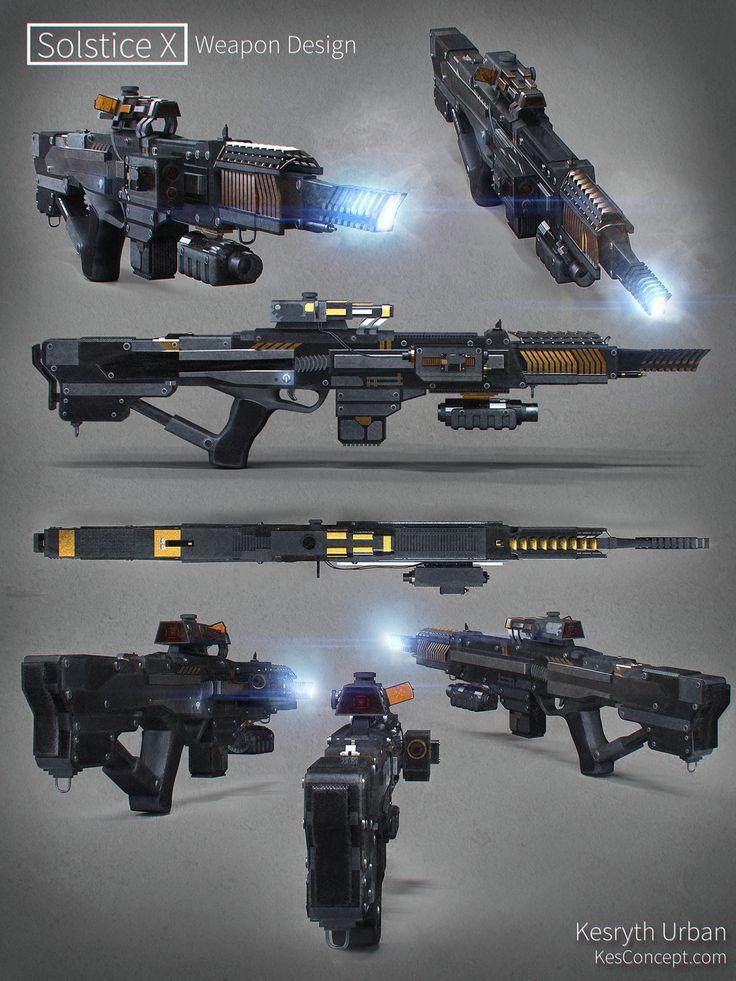 Sci-fi assault rifle from ArtStation - Solstice X Concept Weapon Design, Kesryth…