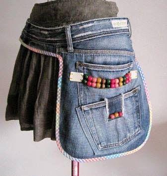 13 Ideas para Hacer Mandiles con Viejos Jeans ¡Fenomenales!