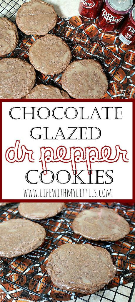 These chocolate glazed Dr Pepper cookies are the perfect tailgating dessert! So soft and chewy, and the Dr Pepper and chocolate go together so well! They are the best!