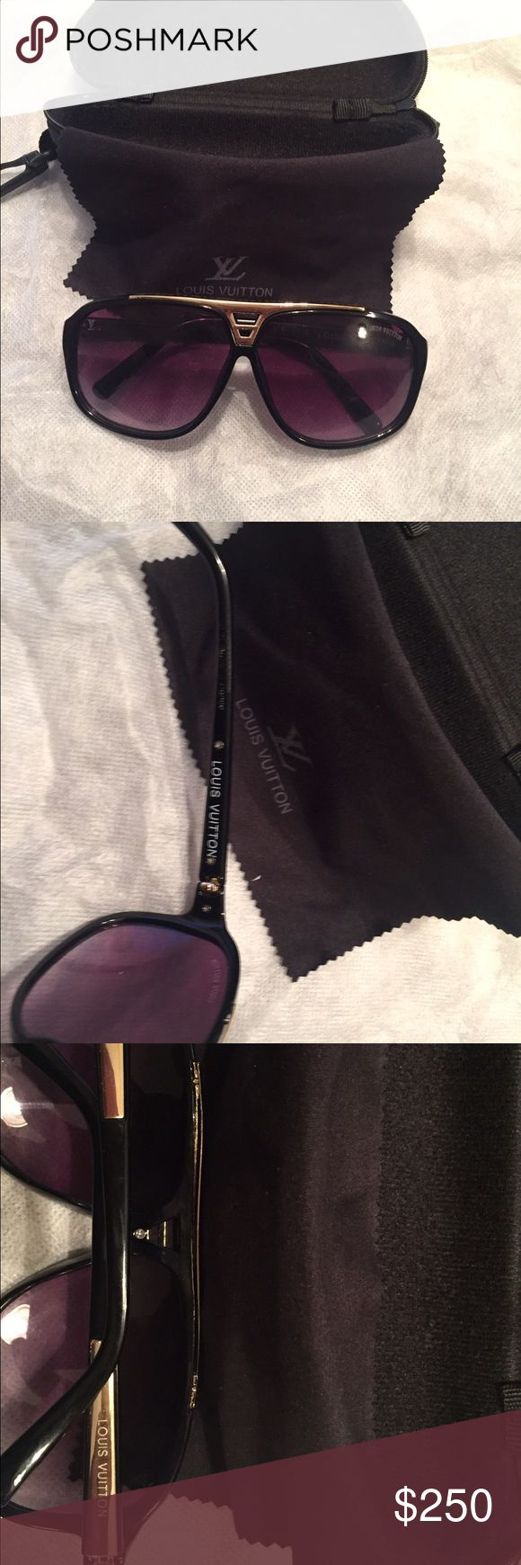 Authentic Louis Vuitton Evidence Sunglasses Black and gold. Comes with case and dust rag. 2014 model. NO TRADES. Will consider offers though. Louis Vuitton Accessories Glasses