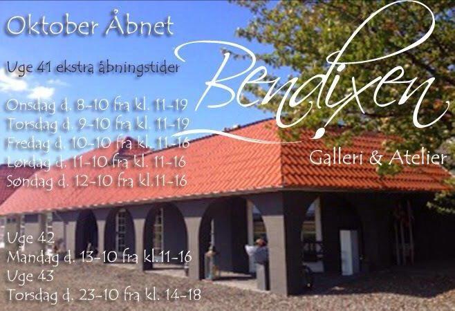 Åbningstider i Oktober - Bendixen Galleri - Bjørnkærvej 5 - 8920 Randers Nv #galleri #kunst #keramik #skulptur
