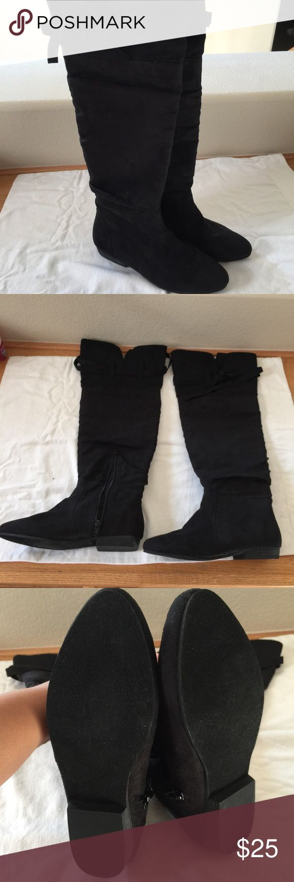 🍀Brand New Black Knee High Boots Size 7🍀 Brand New Sexy Black Knee High Boots Size 7🚫NO TRADES🚫NOT NEGOTIABLE🚫 JustFab Shoes Winter & Rain Boots