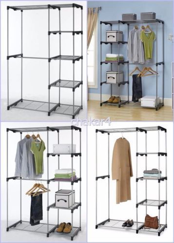 Free-Standing-Wardrobe-Closet-with-2-Rods-5-Shelves-Clothing-Storage-Furniture