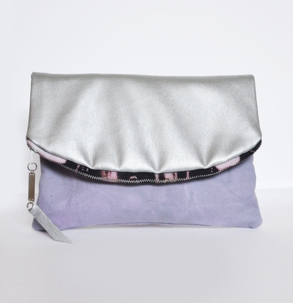 Fold Over Hand Dyed And Metallic Clutch Bag by RiannaPhillips
