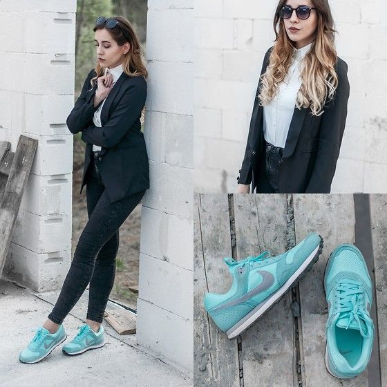 Mone Photos - Romwe Lapel Fitted Black Blazer, Romwe Asymmetric Hem Slim Sheer White Shirt, Nike Wmns Md Runner - Sport & Elegance - outfit #12
