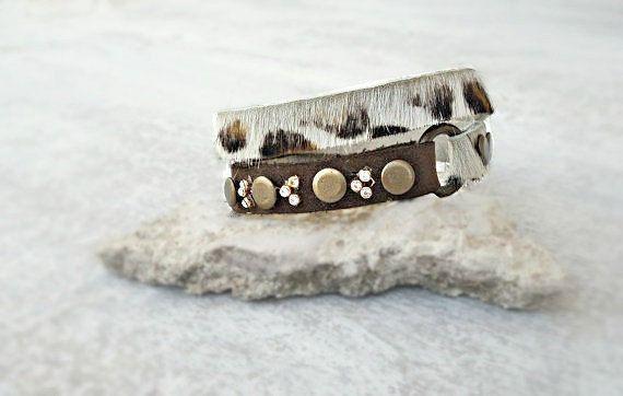 White leopard leather bracelet double wrap brass by Glad2Balive, €15.50