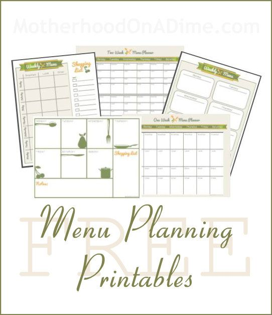 Motherhood on a Dime has a FREEset of menu planner printables for subscribers. She also has one free menu planner available for anyone to download!  &