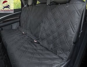 Non-Slip Backing Wide Bench Car Seat Protector - Removable zipper flap that allows for middle seatbelt and console use.  100% waterproof car back seat cover for dogs.