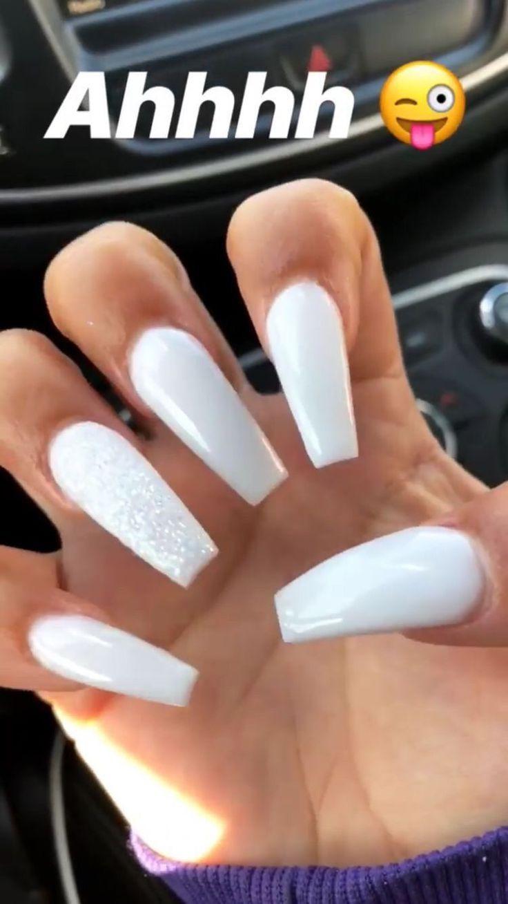 White Nails Coffinnails White Acrylic Nails Acrylic Nails Pretty Nails