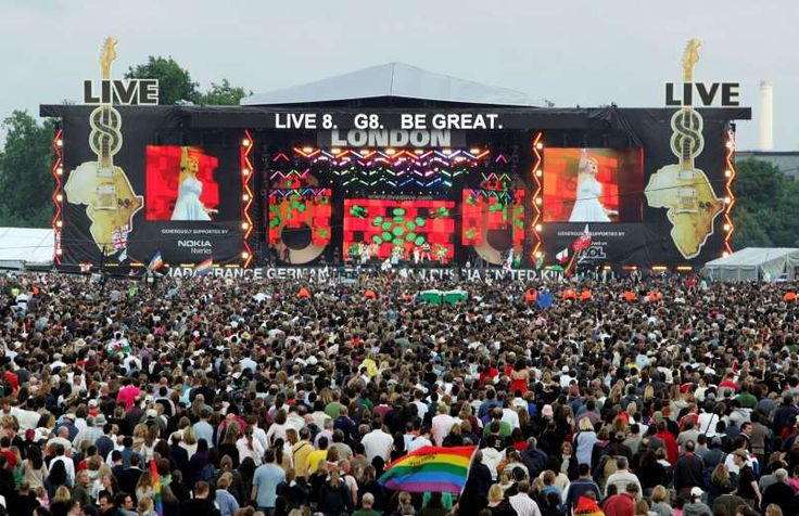 July 2,  2005: TEN SIMULTANEOUS LIVE8 CONCERTS ARE HELD The world's biggest music stars perform at Live8 concerts to draw attention to the G8 Summit (July 6-8) where political leaders would discuss poverty in Africa.