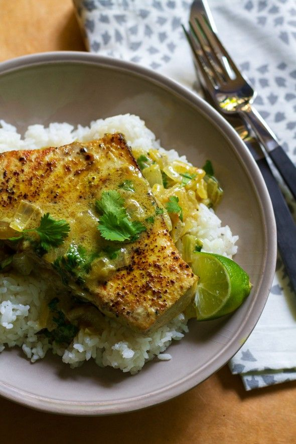 Seared Vindaloo-Coconut Curry Swordfish - an indian fish dish, sounds interesting and awesome, and like a great idea to divert from the usual protein suspects (chicken, beef, beans...)