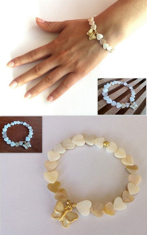 Mother 0f Pearl Bracelet, Mother 0f Pearl Hearts, Butterfly Charm Jewellery, Wedding, Mother of Pearl Butterfly, Elastic Bracelet, Gift İdea - pinned by pin4etsy.com