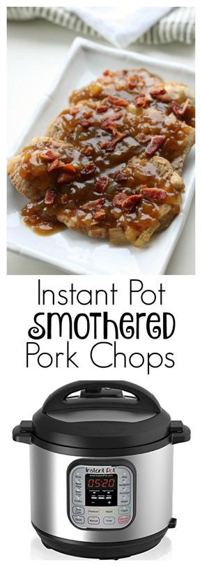Instant Pot Smothered Pork Chops–thin sirloin pork chops cooked in the pressure cooker until tender and topped with a savory sauce and bacon crumbles.