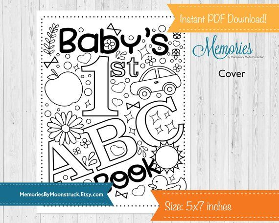 Baby S First Abc Coloring Book 5x7 Inches Etsy Abc Coloring Abc Coloring Pages Coloring Books