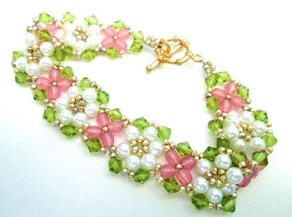 Shabby Chic floral bracelet wedding bracelet by BuzzybeeBeading