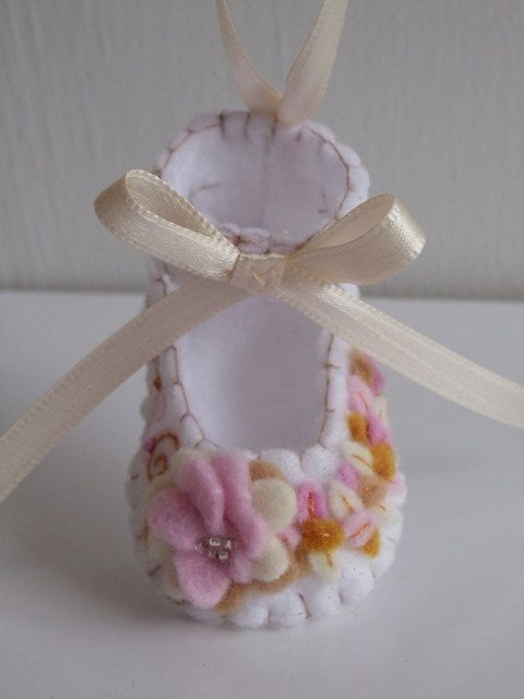 Felt Baby Shoe Ornament by BananaBugAndZod on Etsy