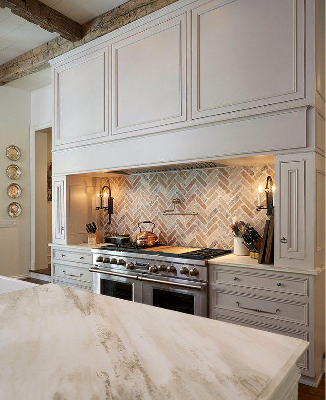 Traditional Off White Kitchen With Brick Backsplash