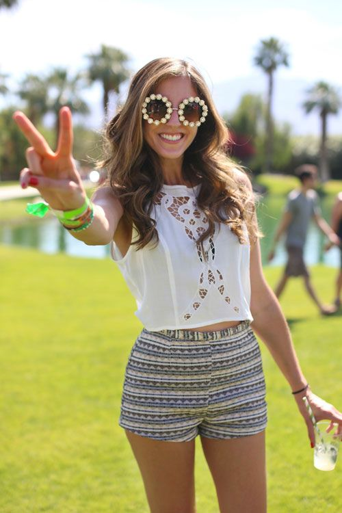 Coachella Street Style - Fashion at Coachella 2013 - Harper's BAZAAR white crop top & patterned shorts