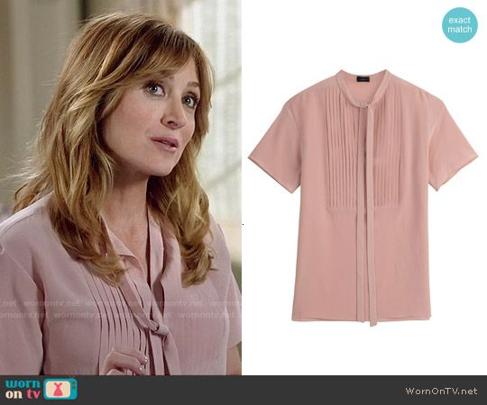 Maura's pink pleated tie-neck blouse on Rizzoli and Isles.  Outfit Details: http://wornontv.net/50467/ #RizzoliandIsles