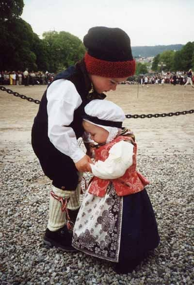 NORWAY:  Big brother teaching baby sister to dance. - Nord-Trøndelag.