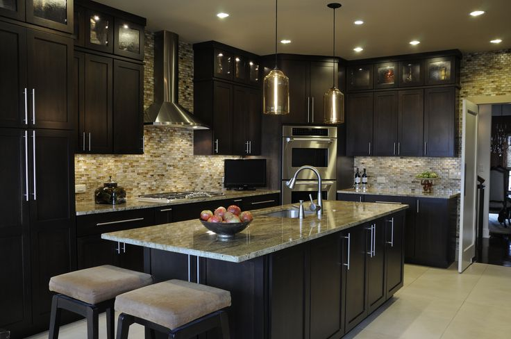 Gourmet Kitchen Designs | Gourmet kitchen with modern design and breakfast table overlooking the ...