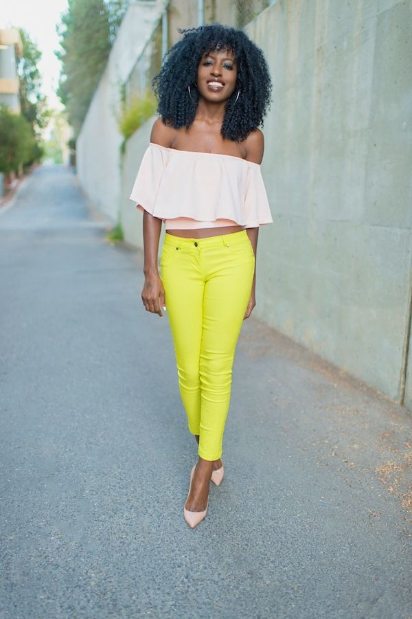Crop Swing Top + Neon Yellow Jeans