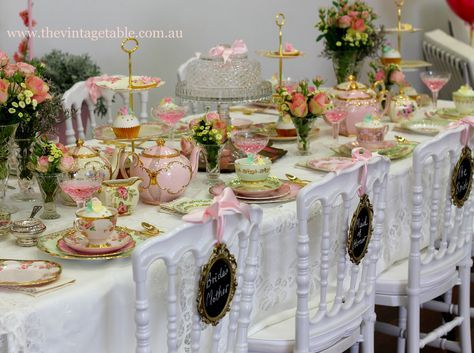 vintage mixed china place settings for a wedding | Vintage High Tea Display at Confetti Fair ~ All vintage china, cutlery ...