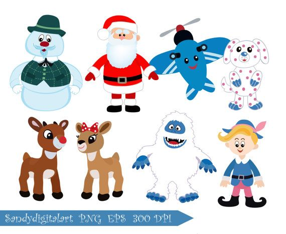Rudolph the Red-Nosed Reindeer clipart by SandyDigitalArt on Etsy