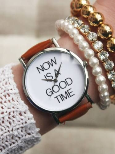 Now-is-a-Good-Time-Case-Fashion-Wristwatch-Teen-Gift-Woman-Girl-Brown-Band-Watch