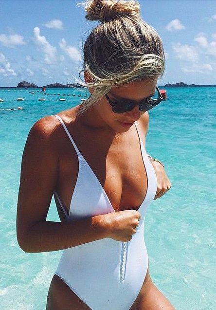 White bathing suit.