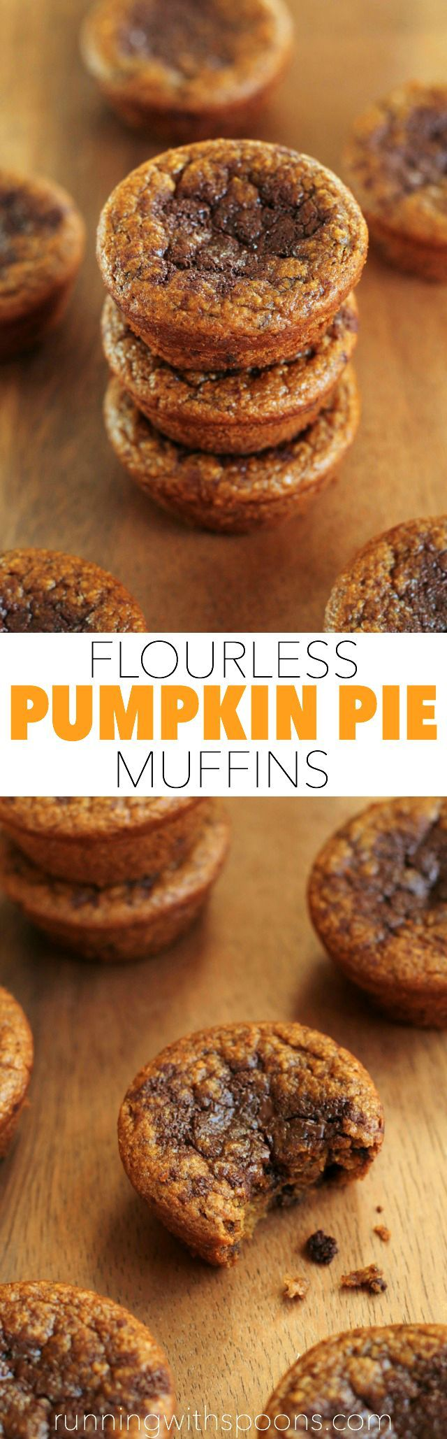 Flourless Pumpkin Pie Muffins - You won't miss the flour, oil, or sugar in these soft and tender muffins!