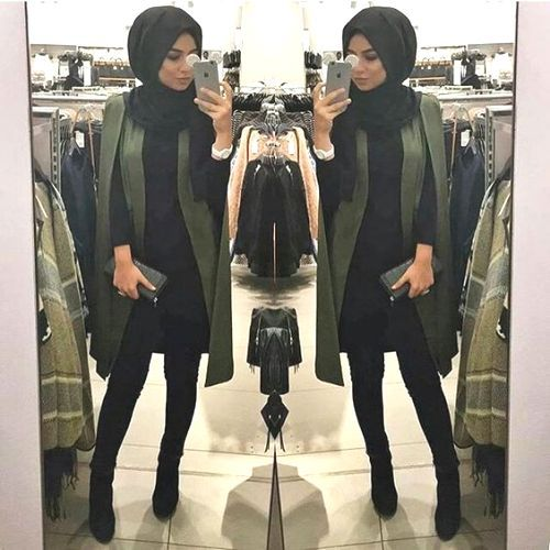 chic-cape-coat-hijab-style- Hijab casual wear 2017 http://www.justtrendygirls.com/hijab-casual-wear-2017/