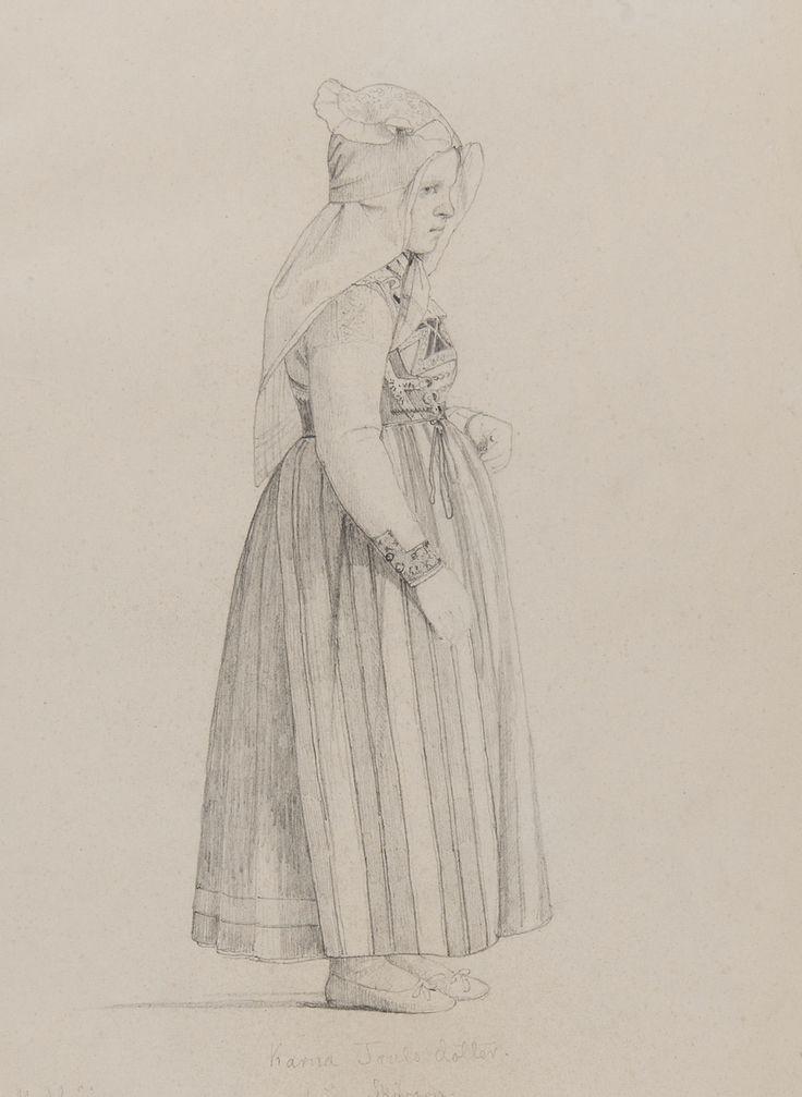 """""""Karna Truls Dotter från  Skivarp (?), Vemmenhögs härad"""". Blyertsskiss av Otto Wallgren, ca 1830-40-tal? Nordiska Museet, nr. NMA.0070143"""