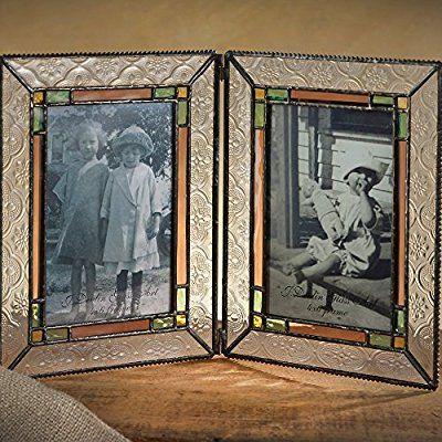J Devlin Pic 137–46–2ステンドグラス4x 6ダブル画像フレームPale Purple SageグリーンとクリアテクスチャガラスHolds 24x 6写真