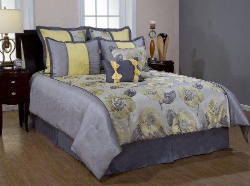 Black And Yellow Comforter Queen: Bednlinens 8 Piece King Yellow Poppy Comforter Set