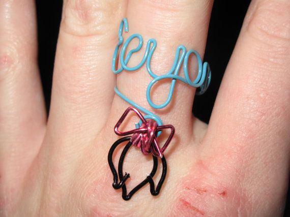 Wire Wrapped EEYORE Spelled Ajustable Ring With Eeyore's Tail