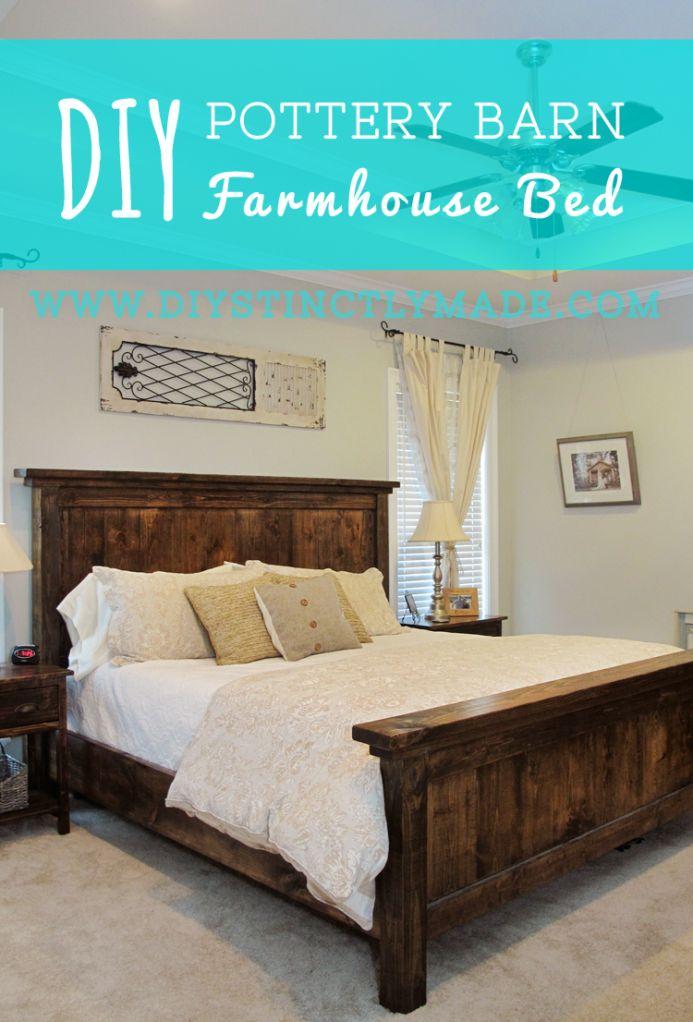 DIY Pottery Barn Farmhouse Bed - Easy plan and cost less than $200 to build | DIYstinctlyMade.com #diy #potterybarn #farmhouse