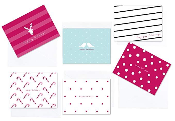 36 Pack Christmas Happy Holidays Greeting Cards Polka Dots And Stripes Assorted Winter Holiday Boxe Happy Holiday Greeting Cards Holiday Greetings Note Cards