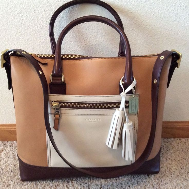 COACH LEGACY COLORBLOCK LEATHER RORY SATCHEL TAN/BROWN #Coach #SatchelShoulderBag