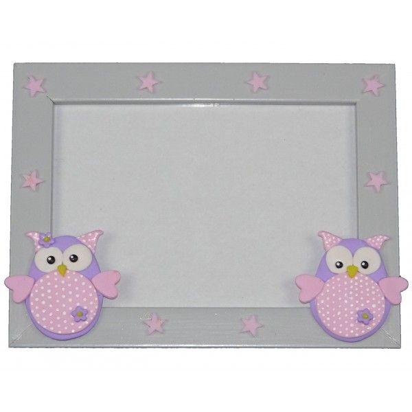 Fotolijstje grijs/roze sterren/roze uil