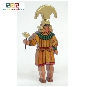 Wooden sculpture - statue Lord of Sipan handcarved from ishpingo Amazon wood. Peruvian artwork. US $ 59.00 free shipping from peruincamarket
