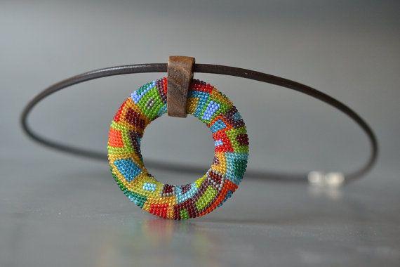 Choker OOAK Mandala beaded Pendant multicolor by by Donauluft
